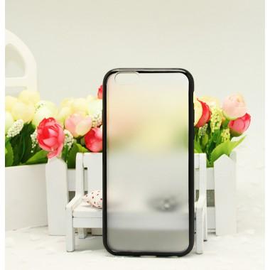Чехол-бампер с силиконовыми краями черный для iPhone 6+/6s+