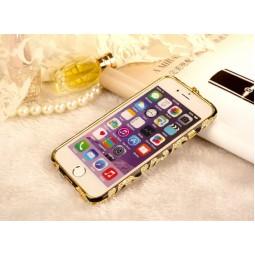 Черно-золотой металлический бампер со стразами для iPhone 6/6s