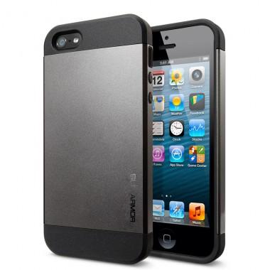"""Антиударный чехол """"Spigen"""" Slim Armor серый для iPhone 5/5s/SE"""