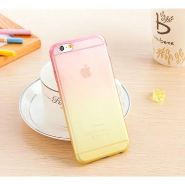 Силиконовый розово-желтый чехол градиент для iPhone 5c