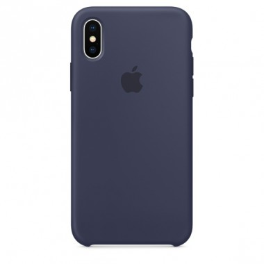 Midnight  blue Red Apple silicone case для iPhone X