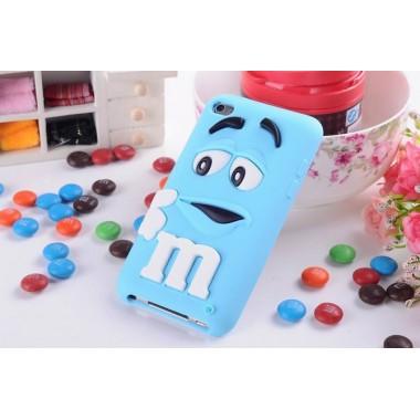"""Резиновый 3D чехол """"M&M"""" голубой для iPhone 4/4S"""
