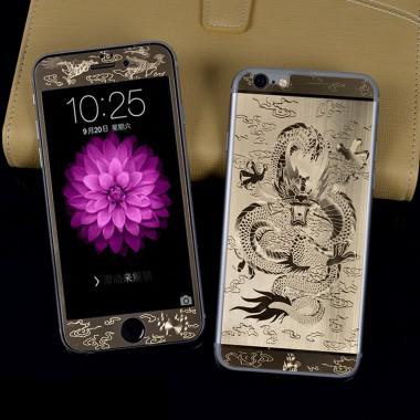 """Комплект золотых защитных стекол """"Дракон"""" для iPhone 5/5s/SE"""