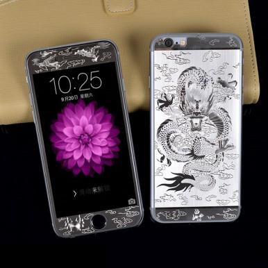 """Комплект серебряных защитных стекол """"Дракон"""" для iPhone 6/6s"""
