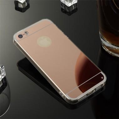 Силиконовый Rose gold чехол с зеркальным эффектом для iPhone 4/4S
