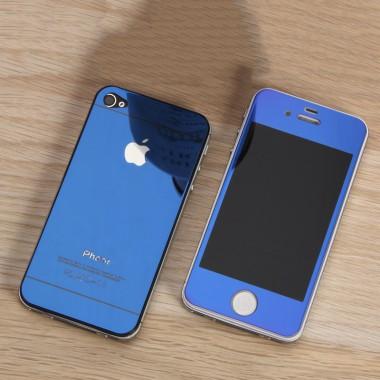 Комплект синих защитных стекол для iPhone 4/4s