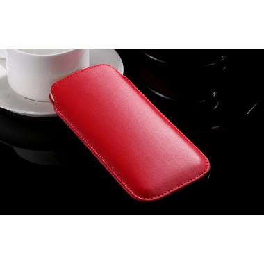 Кожаный красный чехол для iPhone 4/4S