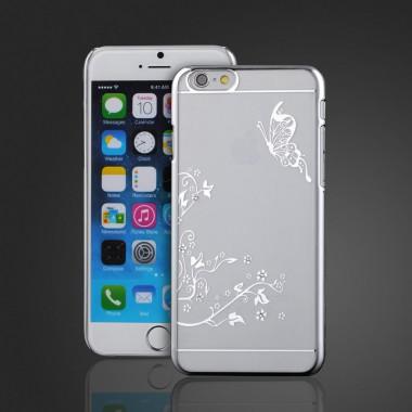 Пластиковый чехол Бабочка серебряный со стразами для iPhone 6+/6s+