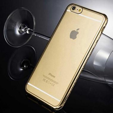 Силиконовый чехол с золотым бампером и стразами для iPhone 5/5s/SE