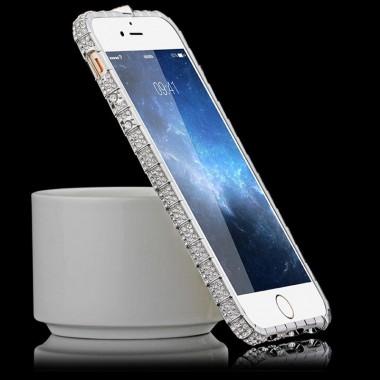Серебряный металлический бампер со стразами для iPhone 6+/6s+