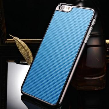 Пластиковый карбоновый синий чехол iPhone 6+/6s+
