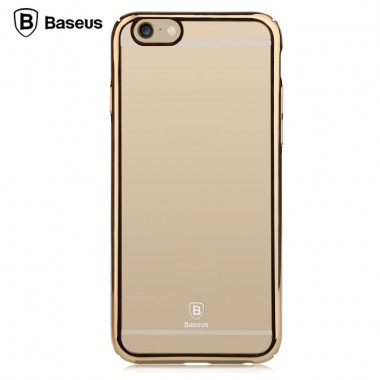 """Пластиковый чехол """"Baseus"""" с золотым бампером для iPhone 6+/6s+"""