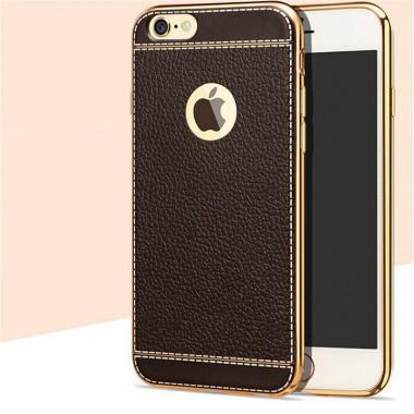 Коричневый силиконовый чехол с золотым бампером для iPhone 6+/6s+