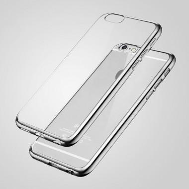 Силиконовый прозрачный чехол с серебряным бампером для iPhone 6+/6s+