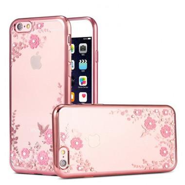"""Силиконовый чехол со стразами """"Роза"""" розово-золотой для iPhone 6+/6s+"""