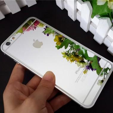 Заднее серебряное защитное стекло для iPhone 6+/6s+