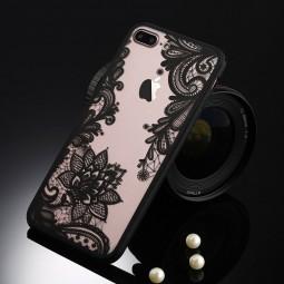 """Пластиковый чехол с силиконовым бампером """"Кружевной Винтаж"""" черный для iPhone 7 Plus"""