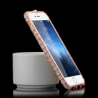 Розово-золотой металлический бампер со стразами для iPhone 7