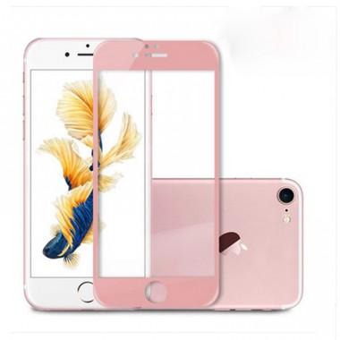 Розовое защитное стекло на экран для iPhone 7 Plus
