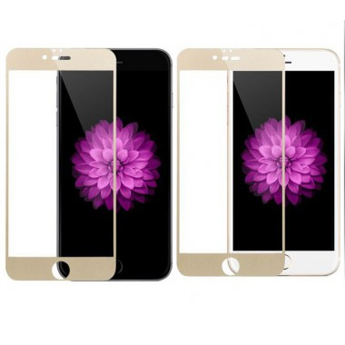 Золотое защитное стекло на экран для iPhone 7