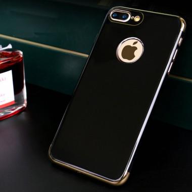 Силиконовый черный глянцевый чехол для iPhone 7