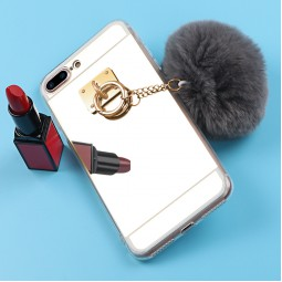 Зеркальный силиконовый чехол с помпоном для iPhone 5/5s/SE
