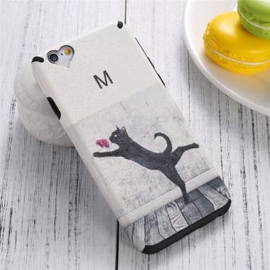 Силиконово-кожаный чехол Кошка для iPhone 6/6s