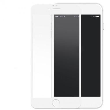 Переднее белое защитное 3D стекло с силиконовыми краями для iPhone 6+/6s+