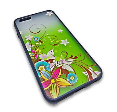 Пластиковый чехол с силиконовым бампером Remax цветочный узор зеленый для iPhone 5/5s/SE