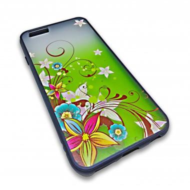 Пластиковый чехол с силиконовым бампером Remax цветочный узор зеленый для iPhone 6+/6s+