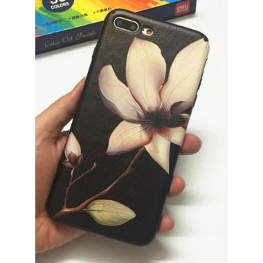 Силиконово-кожаный чехол Орхидея для iPhone 7