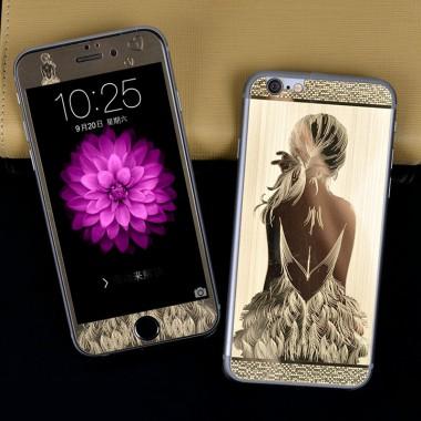 """Комплект золотых защитных стекол """"Девушка"""" для iPhone 5/5s/SE"""