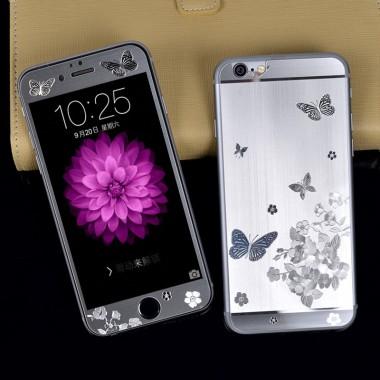"""Комплект серебряных защитных стекол """"Бабочки"""" для iPhone 5/5s/SE"""