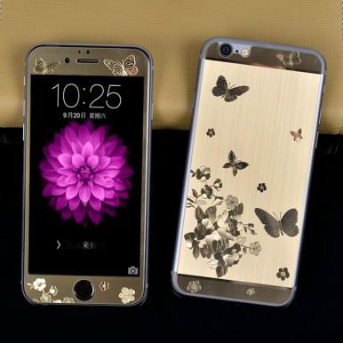 """Комплект золотых защитных стекол """"Бабочки"""" для iPhone 6+/6s+"""
