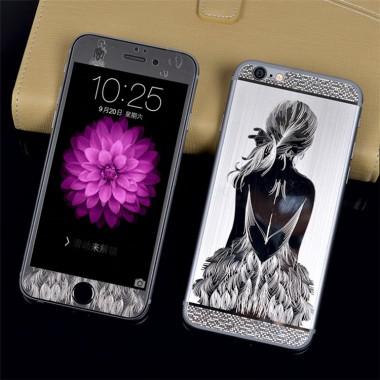 """Комплект серебряных защитных стекол """"Девушка"""" для iPhone 5/5s/SE"""