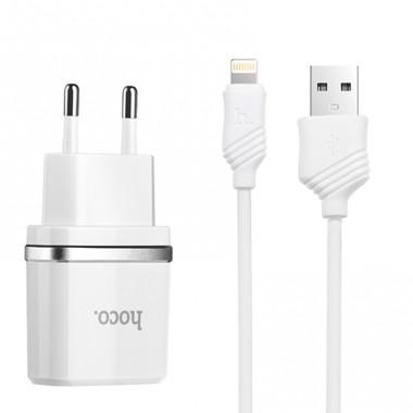 Сетевое зарядное устройство Hoco + Lightning USB кабель