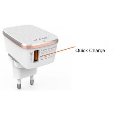 Сетевое зарядное устройство Ldnio quick charge + Micro USB кабель