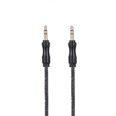 AUX музыкальный кабель черный тканевый