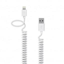 "Lightning USB белый кабель-пружина ""Belkin"" (1.2M) для iPhone/iPod/iPad"