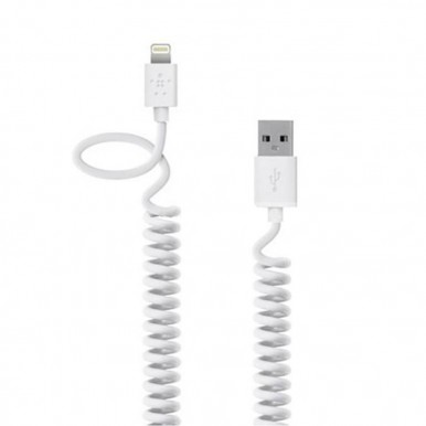 "Lightning USB белый кабель-пружина ""Belkin"" (1.2M) для iPhone/iPod/iPad"