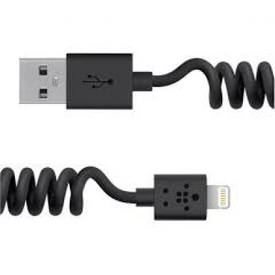 """Lightning USB черный кабель-пружина """"Belkin"""" (1.2M) для iPhone/iPod/iPad"""