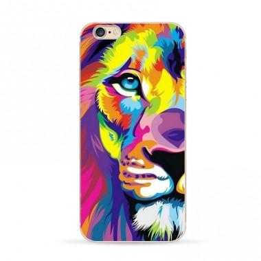 """Силиконоый разноцветный чехол """"Лев"""" для iPhone 7"""