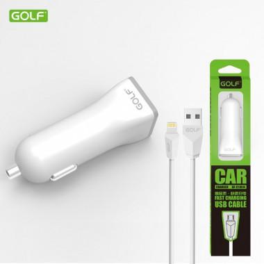 """Автомобильное зарядное устройство """"Golf GF-C1L"""" c кабелем Lightning"""