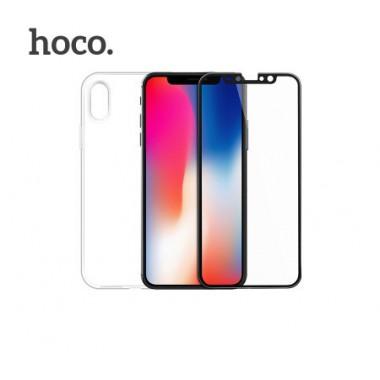 Hoco set Cиликоновый прозрачный чехол + 3D стекло для iPhone X