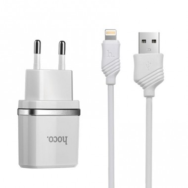 Сетевое зарядное устройство Hoco C12 2 USB белое + Lightning USB кабель