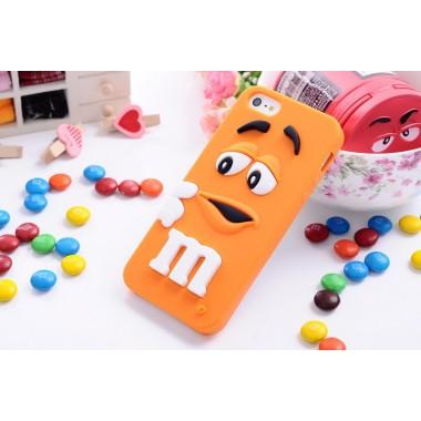 """Резиновый 3D чехол """"M&M"""" оранжевый для iPhone 5/5s/SE"""