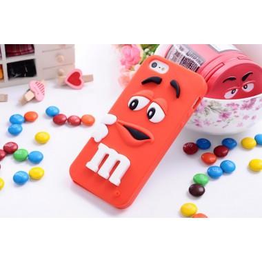 """Резиновый 3D чехол """"M&M"""" красный для iPhone 5/5s/SE"""