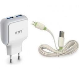Сетевое зарядное устройство  EMY 2USB/2.4A + Micro USB кабель