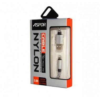 Lightning USB кабель Aspor Nylon (0.3m) для iPhone/iPod/iPad