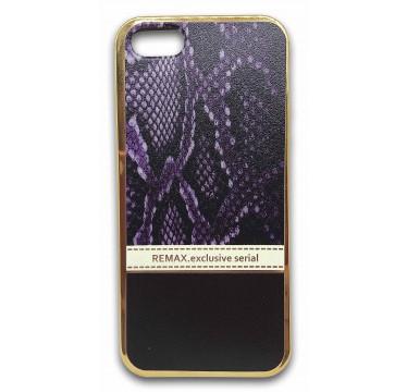 Силиконовый чехол Remax фиолетовый питон для iPhone 5/5s/SE